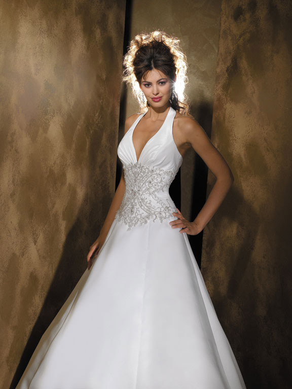 Orifashion HandmadeEmbroidered and Beaded Halter Wedding Dress A