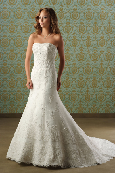 Embroidered Strapless A-Line Bridal Gown / Wedding Dress EG58