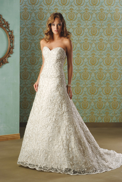 Embroidered Strapless A-Line Bridal Gown / Wedding Dress EG63