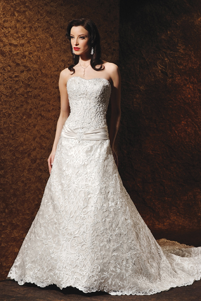 Embroidered Strapless A-Line Bridal Gown / Wedding dress EG64