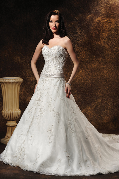 Embroidered Strapless A-Line Bridal Gown / Wedding Dress EG67