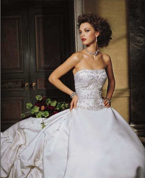 Embroidered Strapless A-Line Bridal Gown / Wedding Dress EG24