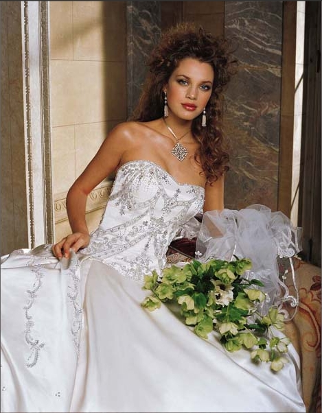 Embroidered Strapless A-Line Bridal Gown / Wedding Dress EG30