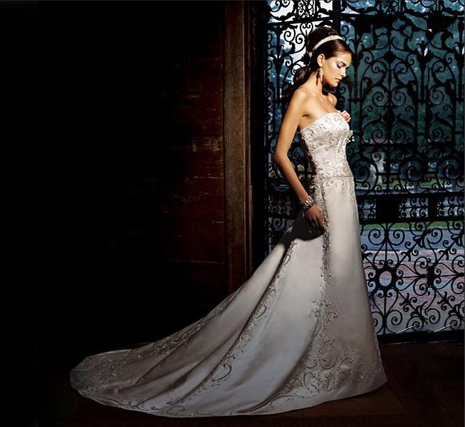 Embroidered Strapless A-Line Bridal Gown / Wedding Dress EG43