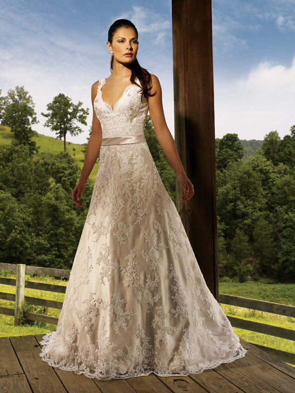 Orifashion HandmadeGraceful Alençon lace Wedding Dress AL116