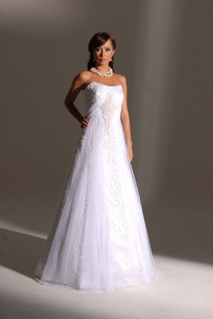 Orifashion HandmadeModest Style Strapless A-Line Bridal Gown_SW0